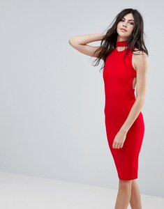 Read more about Missguided red choker neck cross back midi dress - red