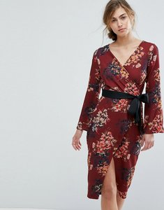 Read more about Closet london allover floral wrap pencil dress with belt - brown multi
