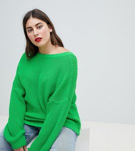 Read more about Asos design curve jumper with v back - green