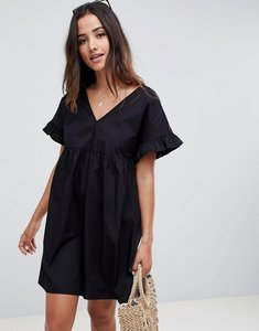 Read more about Asos design v front v back mini cotton smock dress - black