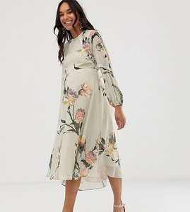 Read more about Hope ivy maternity floral long sleeve skater midi dress