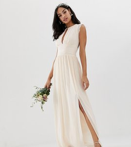 Read more about Tfnc lace detail maxi bridesmaid dress in pearl pink