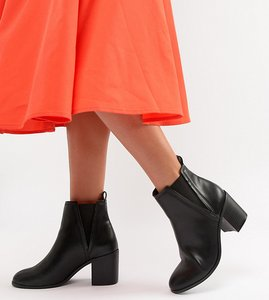 Read more about Asos design reside heeled ankle chelsea boots - black