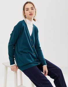 Read more about Asos design boyfriend cardigan in fine knit - dark green