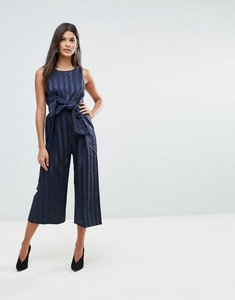 Read more about Closet stripe front bow culotte jumpsuit - blue