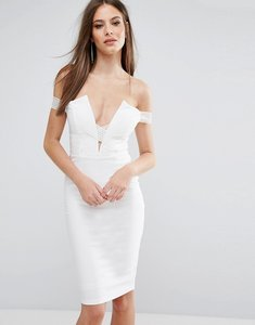 Read more about Rare london bardot cross strap midi dress - white