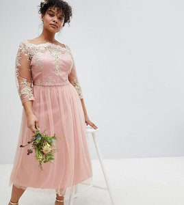 Read more about Chi chi london plus premium lace midi prom dress with 3 4 sleeve and tulle skirt - vintage rose gold