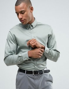 Read more about Selected homme slim shirt with concealed button down collar - slate grey