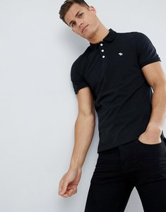 Read more about Abercrombie fitch pique polo stretch slim fit icon in black - black