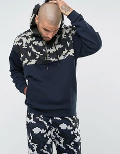 Read more about Asos oversized hoodie with half zip camo print - navy