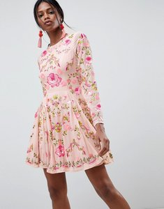 Read more about Asos edition beautiful embellished floral skater dress - pink
