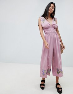 Read more about Asos design ruched waist plunge jumpsuit with embroidery - mauve