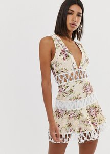 Read more about Love triangle extreme plunge mini dress with scallop lace inserts in floral print