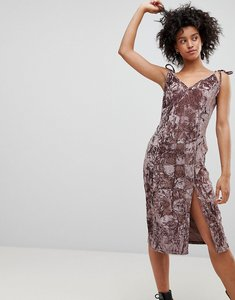 Read more about Nytt crushed velvet midi dress - mauve