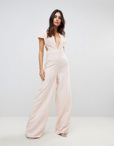 Read more about Asos plunge neck jumpsuit with wide leg and open back - dusty pink