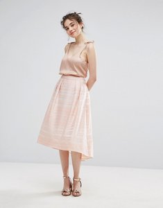 Read more about Oasis organza stripe midi skater skirt - pink