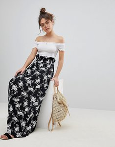 Read more about Asos maxi skirt with paperbag waist in mono floral print - mono