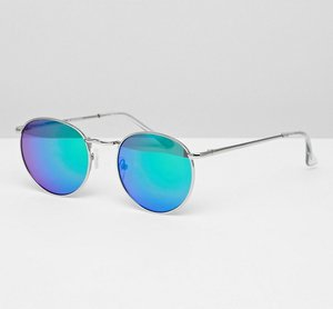Read more about Glamorous blue round flash lens sunglasses - blue