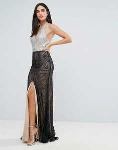 Read more about Forever unique halter neck maxi dress - black silver