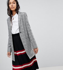 Read more about Asos tall tailored longline slim check blazer - check
