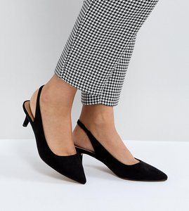 Read more about Asos spirit slingback kitten heels - black