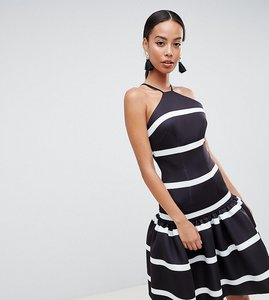 Read more about Asos design tall stripe scuba drop waist midi dress - mono