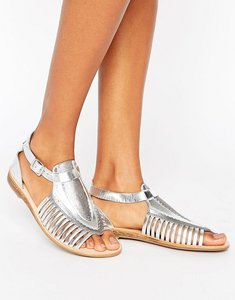 Read more about Hudson london pansy t-bar leather flat sandals - silver leather