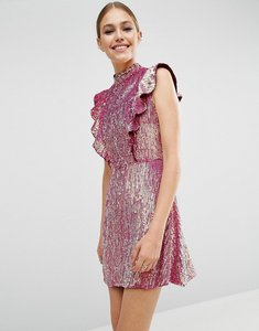 Read more about Asos sequin frill mini dress - pink