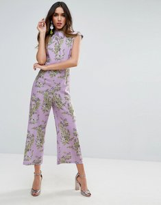 Read more about Asos jumpsuit with high neck and wide leg in print - multi