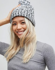 Read more about French connection mixed marl knitted beanie hat - black white
