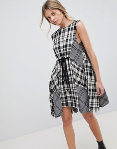 Read more about Free people land lines mixed check dress - grey combo