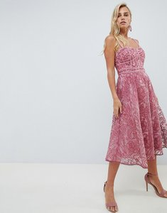 Read more about Forever new lace prom dress in deep rose - deep rose