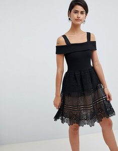 Read more about French connection amelia lace off shoulder dress - black