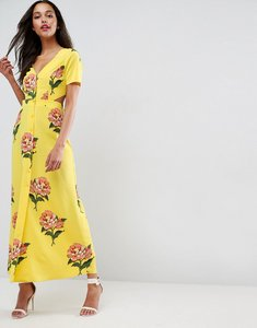 Read more about Asos button through maxi dress with side cut out and open back in floral print - multi