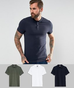 Read more about Asos muscle fit jersey polo 3 pack save - shake wht rosin mar