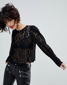 Read more about Mango lace blouse - black
