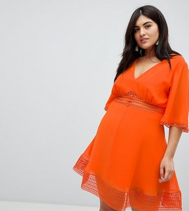 Read more about Asos design curve mini tea dress with lace inserts and button front detail - orange