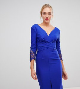 Read more about Little mistress tall wrap front pencil dress with lace sleeve detail in cobalt - cobalt