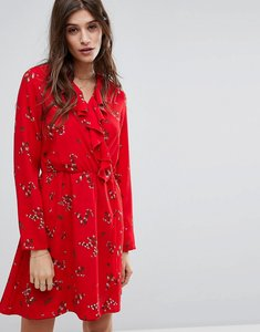Read more about Vero moda floral printed tea dress with frill detail - lychee