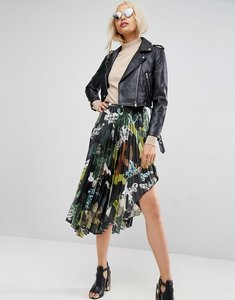 Read more about Asos satin pleated midi skirt in camo print - multi