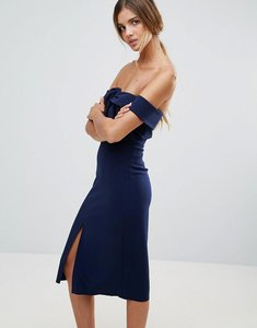 Read more about True decadence premium bardot scuba pencil dress with knot front detail - navy