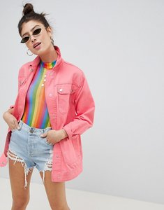 Read more about Asos design four pocket washed jacket - pink