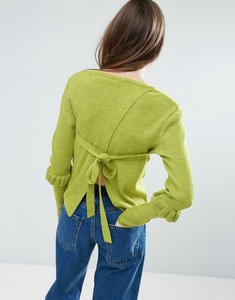 Read more about Asos jumper with frill sleeve and open back - green