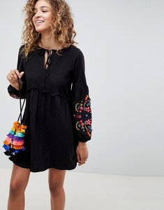 Read more about Asos design embroidered sleeve smock dress - black