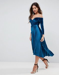 Read more about Asos velvet wrap bardot pleated midi dress - teal