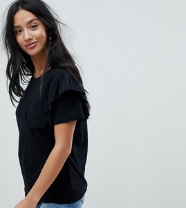 Read more about Glamorous petite t-shirt with ruffle sleeves and chest pocket - black