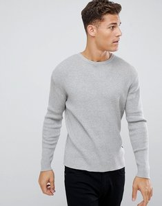 Read more about French connection muscle fit crew neck rib jumper - light grey mel