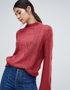 Read more about Vila open knit cable knit high neck jumper - earth red