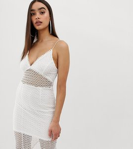 Read more about Prettylittlething lace insert cami strap midi dress - white