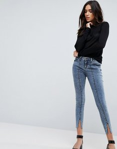 Read more about Asos lisbon mid rise skinny jeans in dixie light acid wash with vent hem - dixie acid wash
